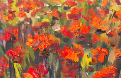 Red poppies flowers painting. Macro Close up fragment. Red poppies flowers. Close up fragment of oil painting artistic flowers image. Artistic Palette knife Royalty Free Stock Image