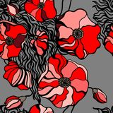 Red poppies on gray background. Seamless pattern Stock Photos