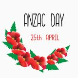 Red poppies, green leaves on a light gray background. April 25 in Australia and New Zealand is celebrated as a Anzac  Day of remembrance of the dead and also in Stock Photography
