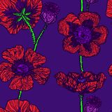 Red poppies on dark blue background. Red poppies, hand drawn doodle, sketch in naïve, pop art style, seamless pattern design on dark blue background Royalty Free Stock Photos