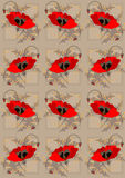 Red poppies a light brown  seamless background Royalty Free Stock Photos