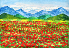 Red poppies meadow, painting Stock Photography