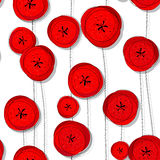 Red poppies pattern Stock Image
