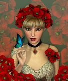 Red Poppies. Portrait of a Girl with red Poppies in her Hair Stock Photography