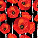 Red poppies on a striped black and white background. Floral seamless pattern with big bright flowers.Summer vector illustration for print textile,fabric royalty free illustration
