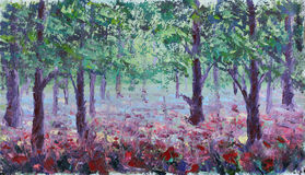 Red poppies in summer forest, oil painting Royalty Free Stock Photos