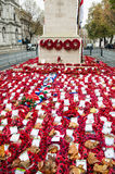Red poppies wreaths in front of monument, United Kingdom, London Royalty Free Stock Image