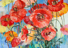 Red poppies on yellow and blue oil on canvas illustration. Oil on canvas painting illustration of red and pink poppies on yellow and blue background