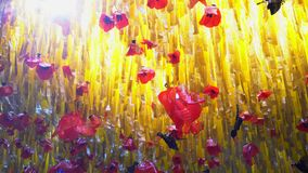 Red poppies and yellow grass made from plastic bags. Outdoor canopy. Made from recycled plastic. Red poppies and yellow grass sways in the wind and the sun stock video