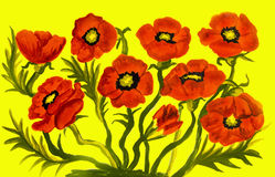 Red poppies on yellow. Many red poppies on yellow background, oil painting Stock Photography