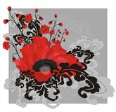 Red poppy. Floral composition with red poppies Stock Image