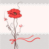 Red poppy floral card background Stock Photo