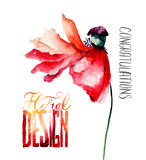 Red Poppy flower with petal fall off with title floral design Stock Photo
