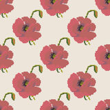 Red poppy flower seamless pattern Stock Photography