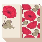 Red poppy flowers business card set Stock Photography