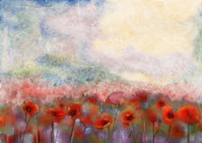Red poppy flowers filed water color painting stock illustration