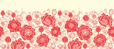 Red poppy flowers horizontal seamless pattern Stock Image