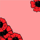 Red poppy frame on the pink background Royalty Free Stock Photos