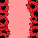Red poppy frame on the pink background Stock Photos