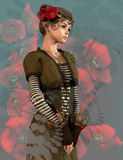 Red Poppy Girl, 3d CG Stock Photo