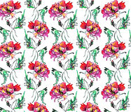 Red poppy , image,  watercolor,  pattern seamless Royalty Free Stock Photos