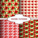 Red poppy patterns. Simple vector floral continuous background Royalty Free Stock Images