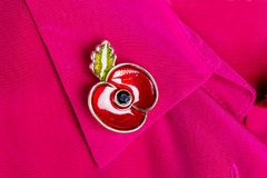 Red Poppy Pin as a Symbol of Remembrance Day Stock Photos