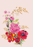 Red poppy and pink rose bouquet stock illustration