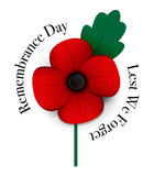 Red poppy remembrance day. A red poppy remembrance day Stock Image