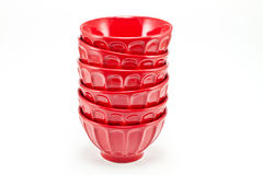 Red porcelain bowls Royalty Free Stock Photos