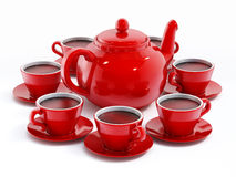 Red porcelain teapot and tea cups Royalty Free Stock Images
