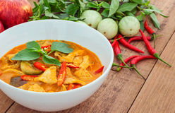 Red pork curry (Panang) with vegetable, Thai food. Red pork curry (Panang) with vegetable on wooden background, Thai food Royalty Free Stock Photos