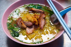 Red pork egg noodle Royalty Free Stock Image