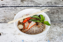 Red pork noodles Royalty Free Stock Photo