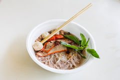 Red pork noodles Royalty Free Stock Photos