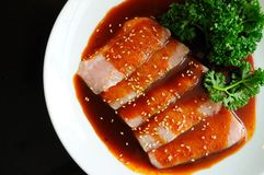 Red pork and sauce Royalty Free Stock Photography