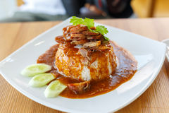 red pork in sauce with rice Royalty Free Stock Photo