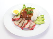Red pork with steamed rice Royalty Free Stock Images