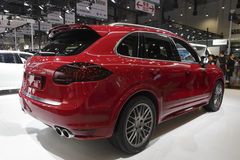 Red porsche cayenne gts suv rear view Royalty Free Stock Photography
