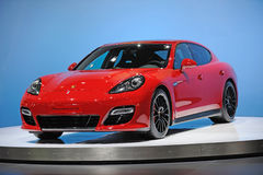 Red Porsche Panamera GTS Royalty Free Stock Photography
