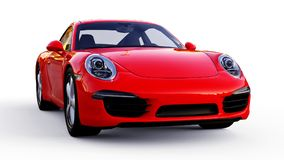 Red Porsche 911 three-dimensional raster illustration on a white background. 3d rendering. Red Porsche 911 three-dimensional raster illustration on a white Stock Photos