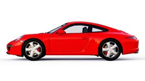 Red Porsche 911 three-dimensional raster illustration on a white background. 3d rendering. Red Porsche 911 three-dimensional raster illustration on a white Stock Photo