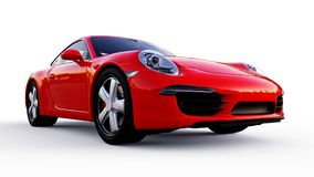 Red Porsche 911 three-dimensional raster illustration on a white background. 3d rendering. Red Porsche 911 three-dimensional raster illustration on a white Stock Photography