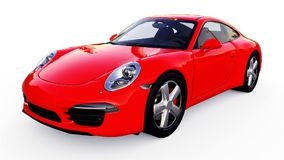 Red Porsche 911 three-dimensional raster illustration on a white background. 3d rendering. royalty free illustration