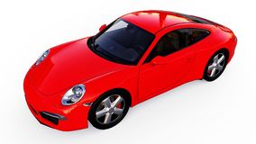 Red Porsche 911 three-dimensional raster illustration on a white background. 3d rendering. Red Porsche 911 three-dimensional raster illustration on a white Stock Image