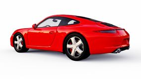 Red Porsche 911 three-dimensional raster illustration on a white background. 3d rendering. Red Porsche 911 three-dimensional raster illustration on a white Royalty Free Stock Photo