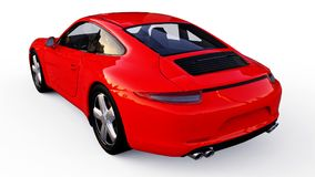 Red Porsche 911 three-dimensional raster illustration on a white background. 3d rendering. Red Porsche 911 three-dimensional raster illustration on a white Royalty Free Stock Image