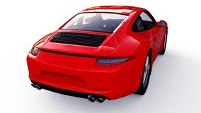 Red Porsche 911 three-dimensional raster illustration on a white background. 3d rendering. Red Porsche 911 three-dimensional raster illustration on a white Royalty Free Stock Images