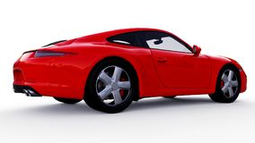 Red Porsche 911 three-dimensional raster illustration on a white background. 3d rendering. Red Porsche 911 three-dimensional raster illustration on a white Royalty Free Stock Photography