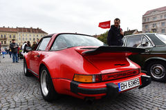 Red Porsche vintage car Royalty Free Stock Image